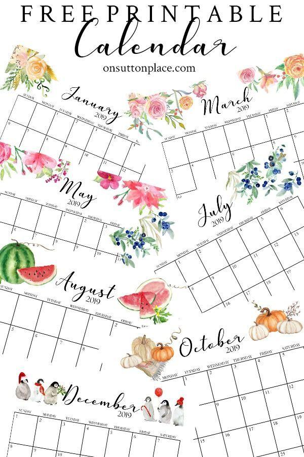 Free Printable Calendar 2019 (Monthly Calendar) The Top Pinned