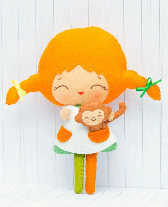 Patrón de PDF. Pippi y su mono. Patrón de muñeca. por Noialand