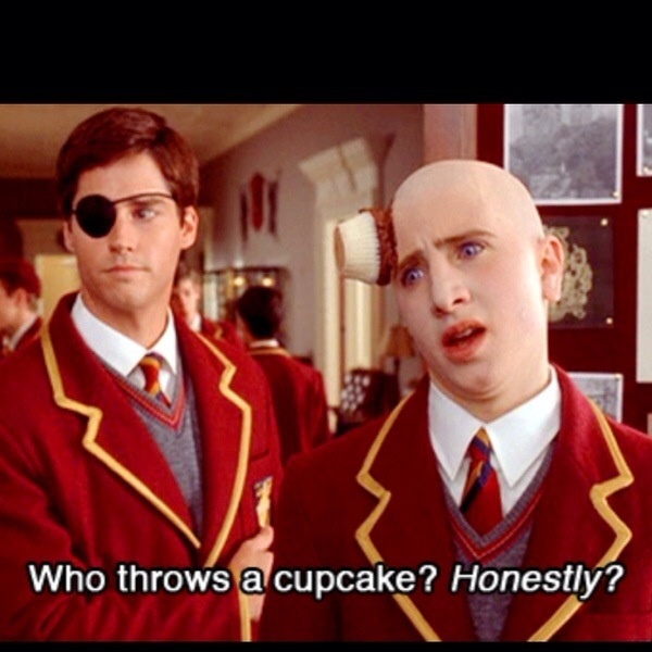 Austin Powers! Who throws a cupcake?!