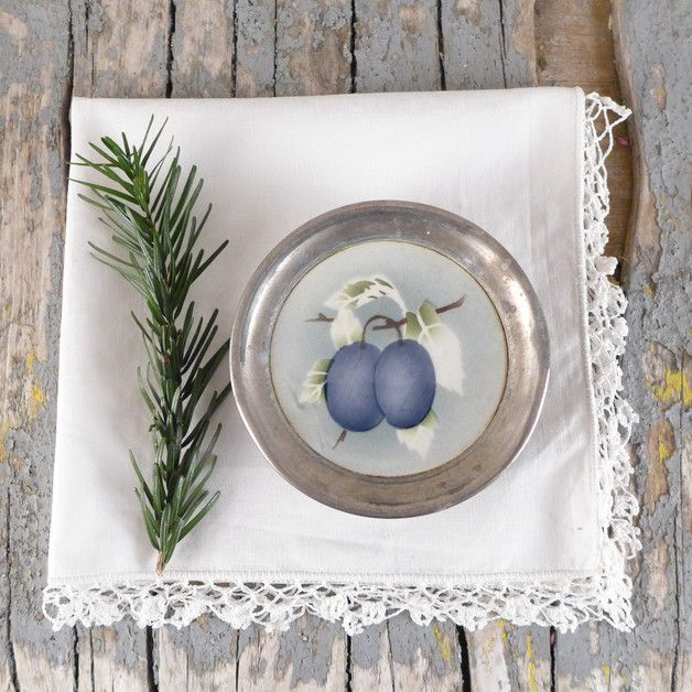 Podkładki, komplet talerzyków z ceramiką, śliwka - atelier-Brocante - Podstawki