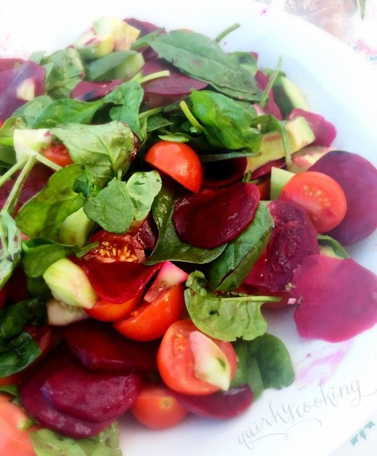 marinated beetroot & spinach salad quirky cooking