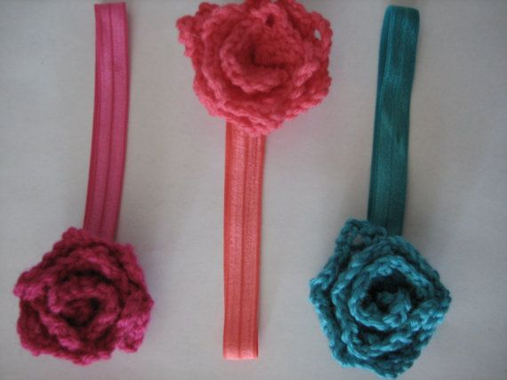 Baby headbands with crochet flower in set of 3 for 0 - 6 months old babies