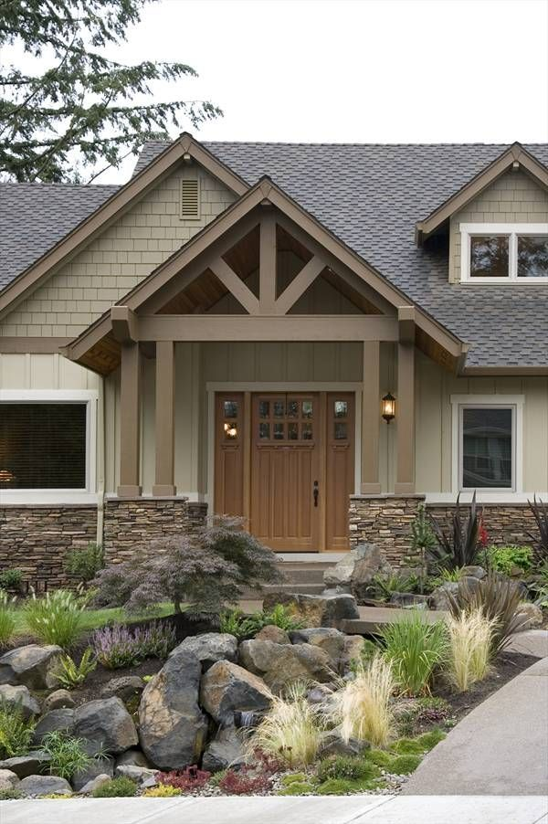 Best 25 ranch house exteriors ideas on pinterest ranch for L shaped craftsman home plans