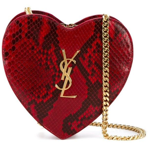 Saint Laurent small 'Love Heart' chain bag (£835) ❤ liked on Polyvore featuring bags, handbags, clutches, bolsas, red, red heart purse, python purse, chain handle handbags, heart purse and chain purse