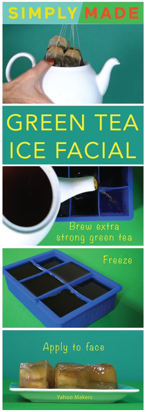 Ice cube facials are some of the oldest spa treatments around. The ice brings down swelling and tighten pores. Plus green tea gives your skin a little jolt of caffeine and a healthy dose of antioxidants, making your face look fresh and bright.