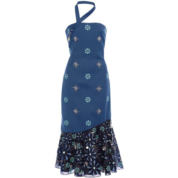 Holly Fulton Agar Embroidered Corset Ruffle Dress ($3,375) ❤ liked on Polyvore featuring dresses, halter top, embellished cocktail dress, blue halter top, blue corset and floral corset