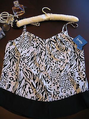 NWT By & By Black & White Animal Print Cami Top, Juniors Size Large