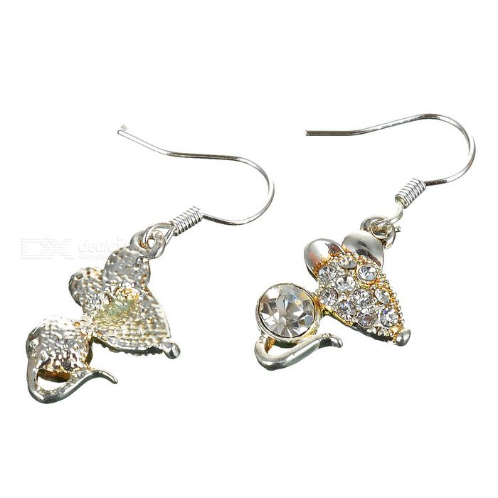 Glamorous Crystal Mice 925 Silver Earrings