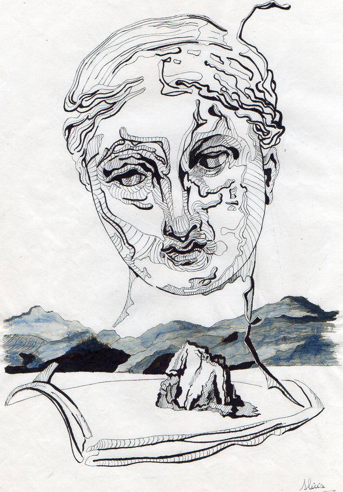 Dibujo realizado en tinta china, inspirado en Dalí. Realizado por Alicia Ruiz.