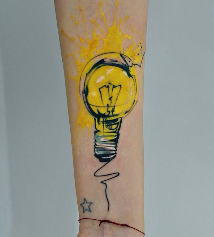 Watercolor Light Bulb Tattoo by dopeindulgence