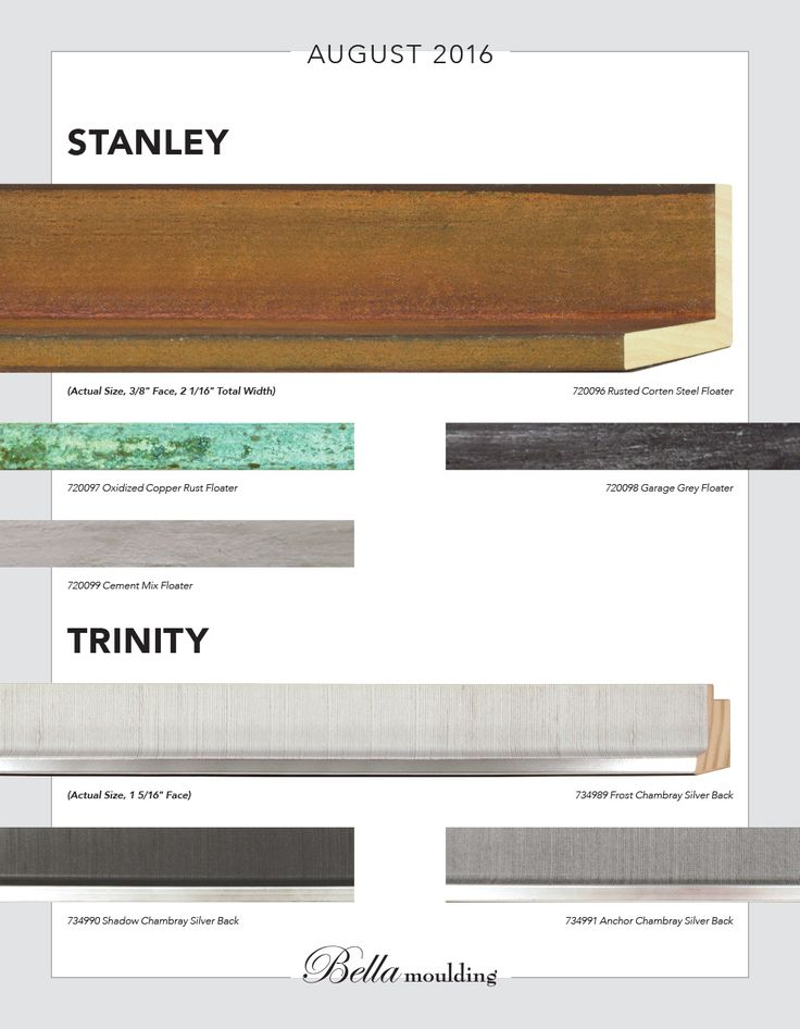 Stanley Collection Floater and Trinity profiles. Hand-finished. Made in Italy. www.bellamoulding.com