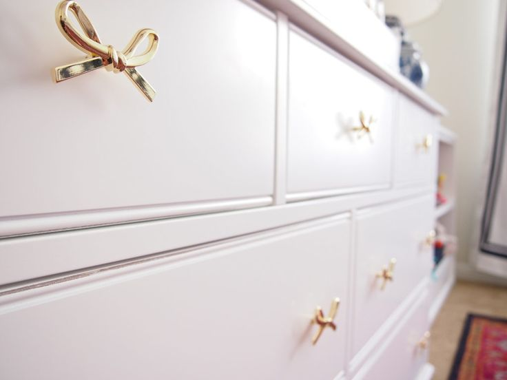 Girly Chinoiserie Nursery - love these bow drawer pulls. Such a fun, girly touch!