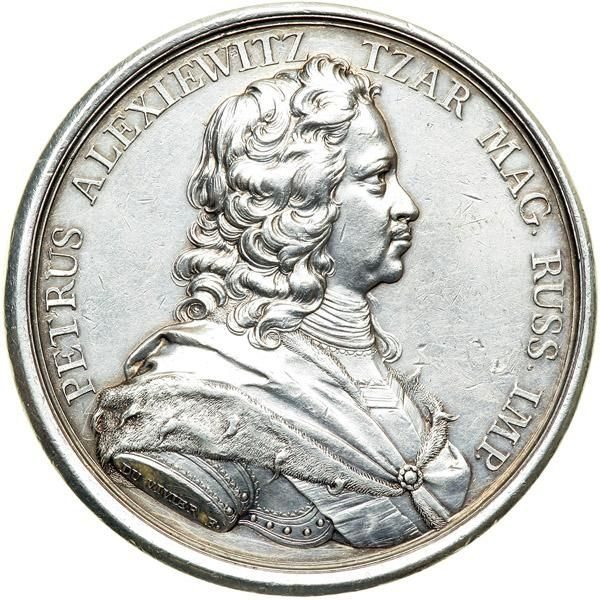 Russia. Medal, 1717. NGC AU Diakov-52.1; Reichel-1295. Silver 60 mm. By J. Duvivier. Peter I. Armored bust of Peter I right. : Glory holding two trumpets, flying towards rising sun. For the Visit of Peter I to Paris Mint June 1, 1717. Rare. Estimated Value $3,500 - 4,000. #Medals #Historical #MADonC