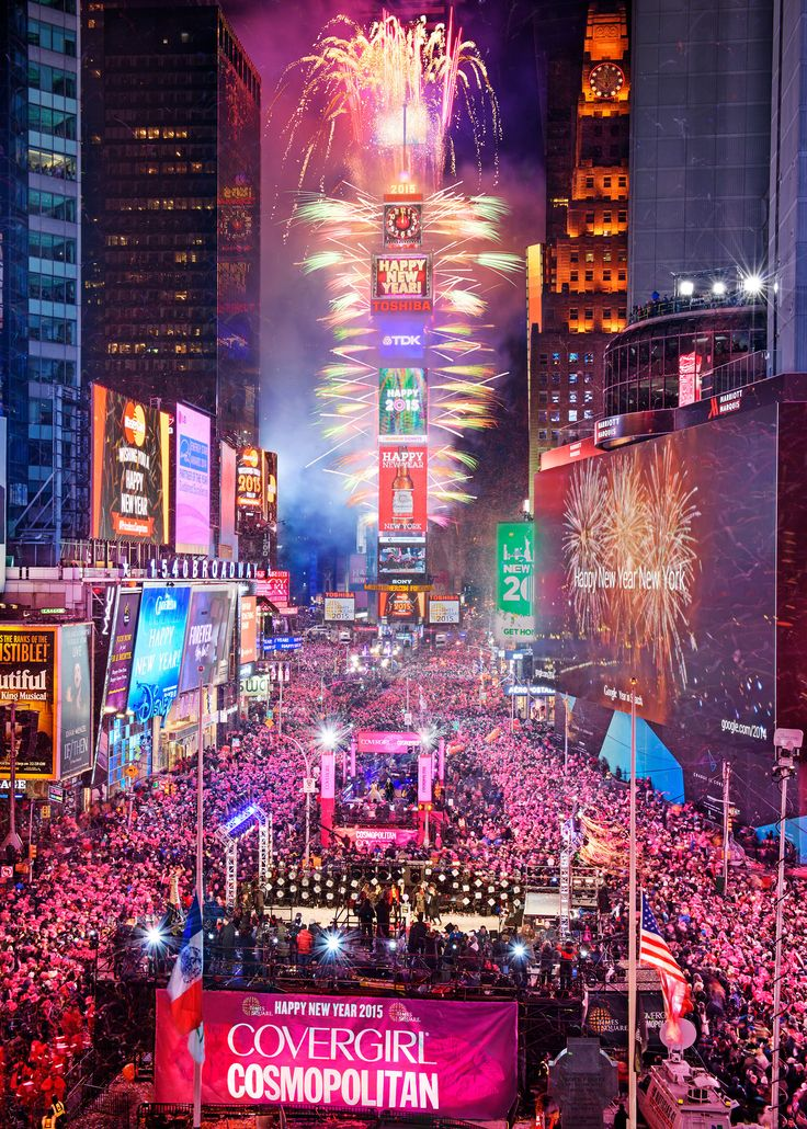 At 11:59pm, one million people are expected to watch the famous New Year's Eve Ball drop in Manhattan's Times Square.