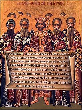 Icon depicting Constantine and the bishops of the Council of Nicaea (325). The Emperor holds a Creed at another council, the First Council o...