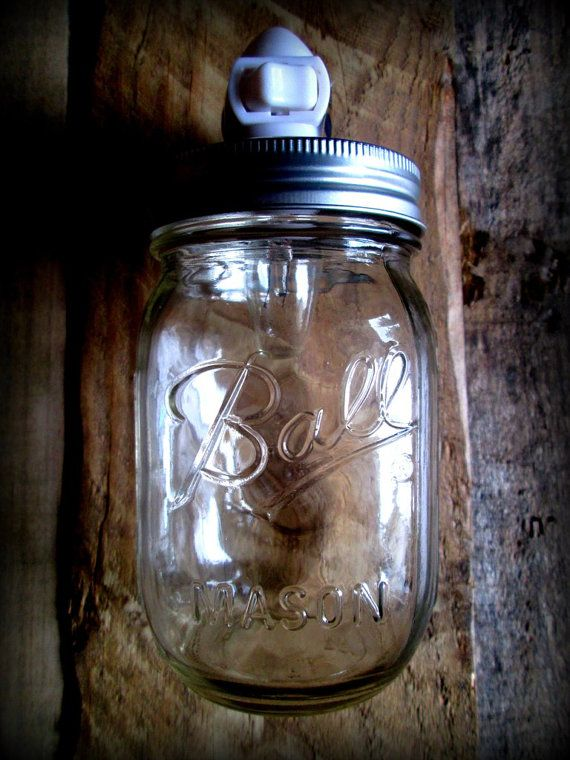 Clear Mason Ball Jar Rustic Night Light Upright by CountryAkers