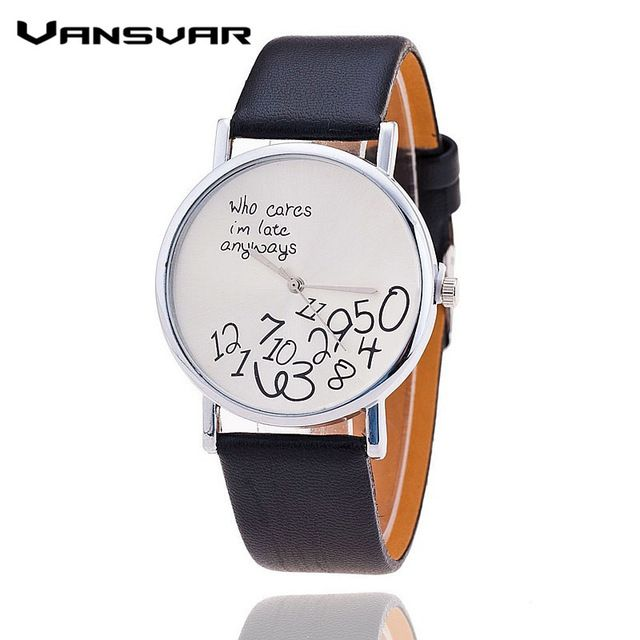 Vansvar Brand Fashion who cares I'am late anyway Watch Leather Strap Women Watch Quartz Watch relojes mujer 1403