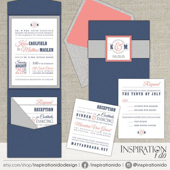 Modern Wedding Invitations Navy and Coral by InspirationIDoDesign