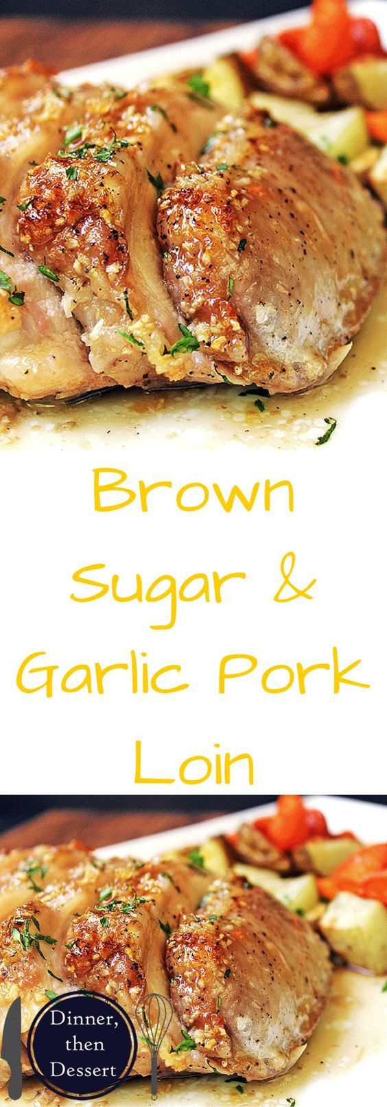 Brown Sugar Garlic Pork with Carrots & Potatoes - An easy meal, ready to roast in just a few minutes. Sticky and sweet with a punch of garlic, this pork loin is sure to be a huge hit with your family. Serve it up with some roasted carrots and potatoes on the side for a healthy balanced meal that is ready start to finish in 45 minutes!