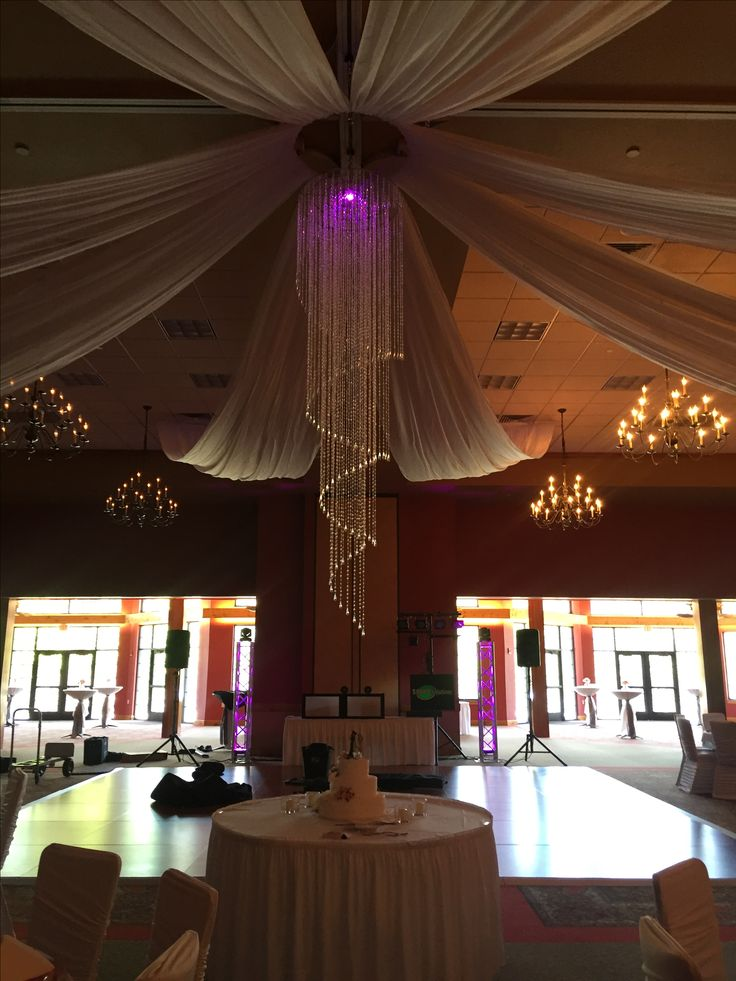 Wedding ceiling draping with chandelier