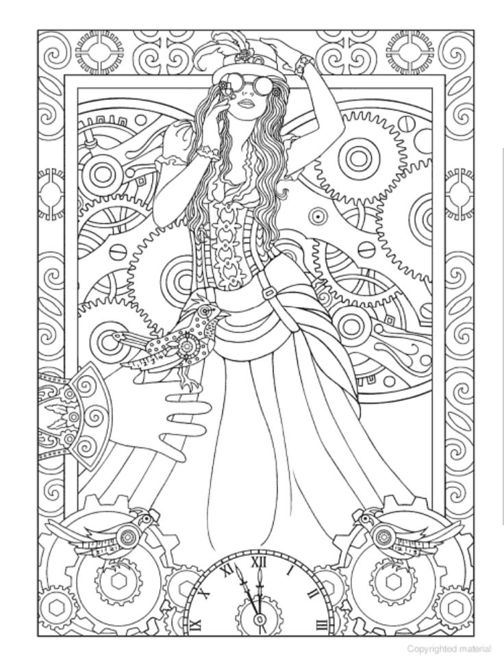 steampunk coloring pages - creative haven steampunk designs coloring book dover