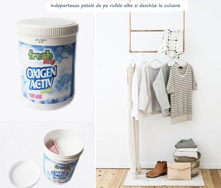 Produs nou! Incearca pudra oxigen activ pentru scoaterea petelor de pe rufele albe si deschise la culoare: http://www.produse-horeca.ro/baie/pudra-oxigen-activ-rufe-albe-600g #curatenie #detergent #pete #misavan (photo: Pinterest)