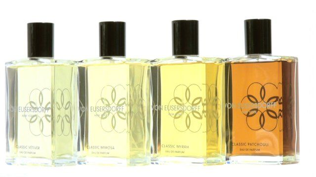 Classic Patchouli, Classic Myrrh, Classic Mimosa and Classic Vtiver all by Von Eusersdorff New York.