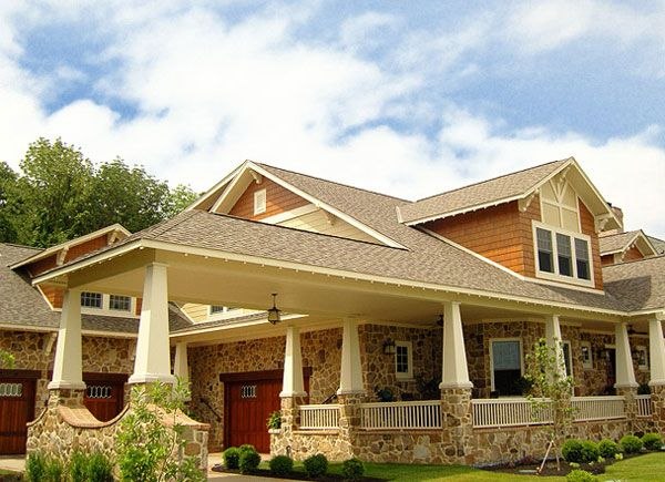 porte cochere craftsman | CraftsmanBungalow main floor master Cottage Stone Shingles