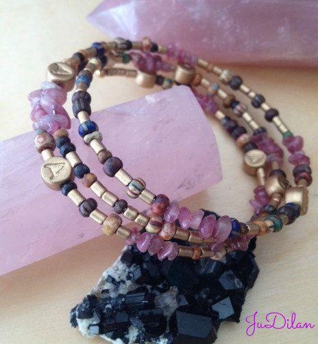 Bracelet 3 rangs en Tourmaline rose et perles par JuDilan sur Etsy, €35.00