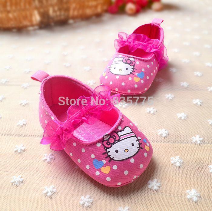 yeni sevimli bebek yürümeye başlayan ilk yürüyüşe ayakkabı yeni doğan bebek prenses kız hello kitty Mary Janes puantiyeli yumuşak tabanlı ayakkabı(China (Mainland))