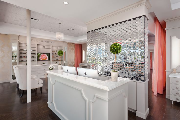 I realize this is not a bathroom but wouldn't this wall behind the desk look amazing in one...to be more specific...in mine?  Blushington store in LA. (desk)