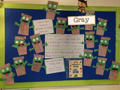 Green Garbage Monsters - Chalk Talk: A Kindergarten Blog for littering and taking care of our earth!!!