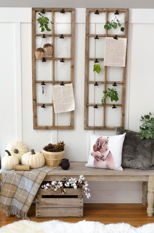 I think I'm in love with this wall organizer idea. House Tour From Home Stories A to Z: Fall mudroom decor...