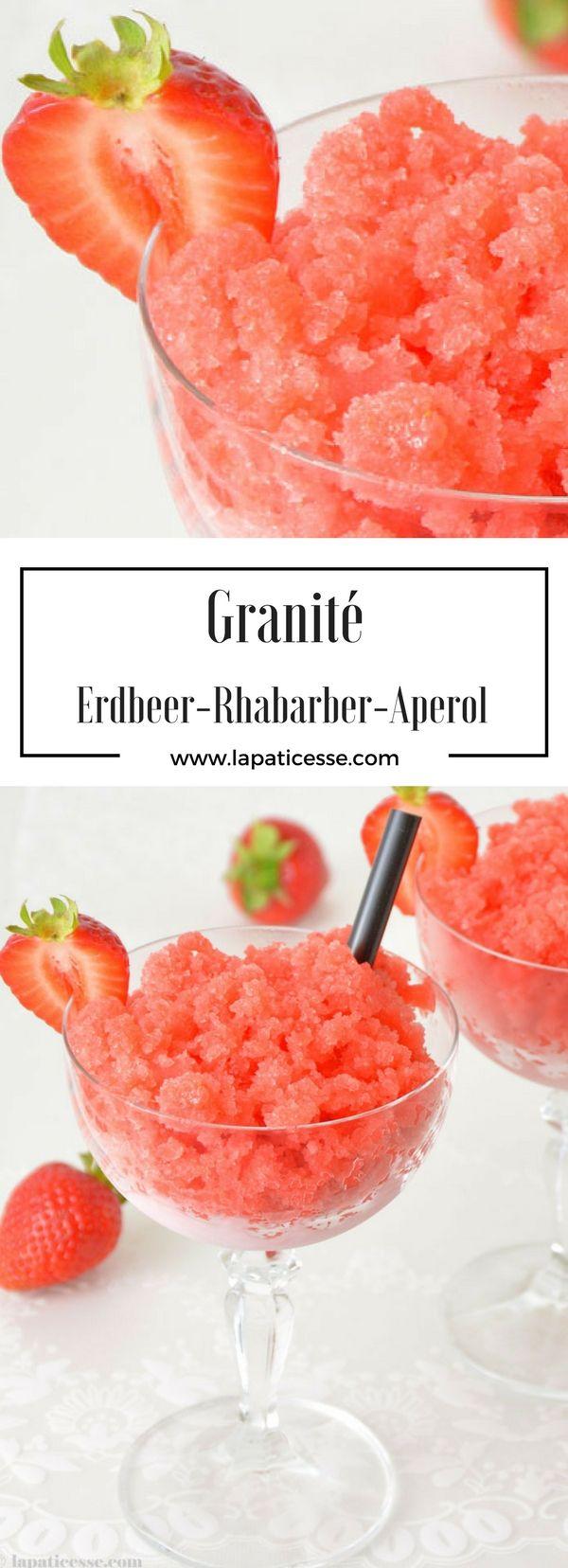 Rezept für Erdbeer-Rhabarber Granité  Granita #Rhabarber #Erdbeeren * Strawberry Rhubarb Granita Recipe * Recette de Granité aux fraises et rhubarbe #Patisserie * Made by La Pâticesse