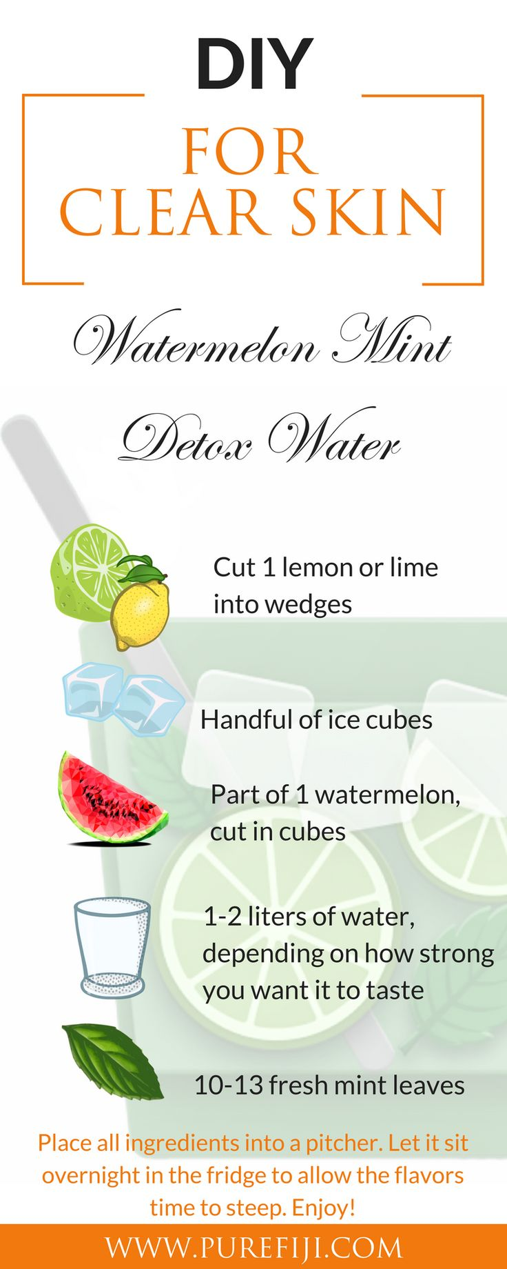 Beauty Hacks | Mint is known for soothing and healing inflammation and keeping acne at bay. Mint is rich in anti-oxidants and flavonoids. Watermelon helps to flush the body of toxins and is full of anti-oxidants. Get more DIY healthy recipes for clear skin and beauty tips at http://www.purefiji.com/blog/drink-clear-glowing-skin/