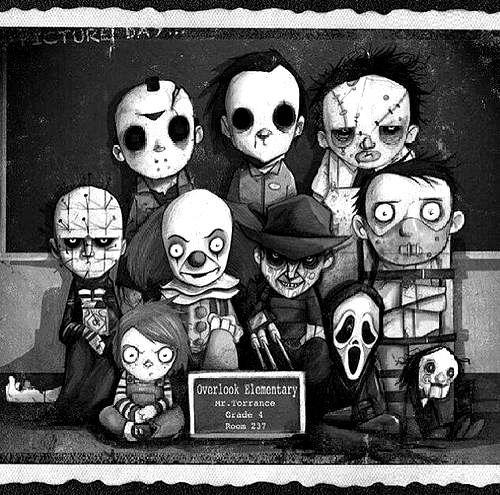 cute Black and White horror cartoon Fanart Halloween myedits ...