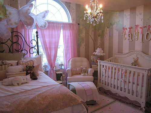 I like the idea of having a bed in the same room and it's kinda cute. But the room is a bit busy. I don't like the giant butterflies.: Girl Room, Kids Room, Girls Room, Baby Girl, Room Ideas, Nursery Ideas, Baby Room, Bedroom, Rooms