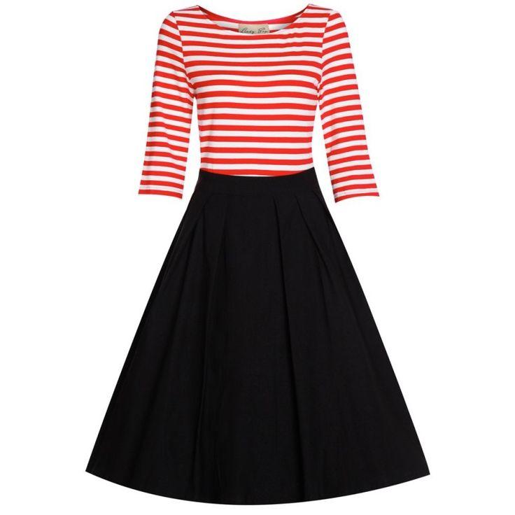 Šaty Lindy Bop Josefine Red Stripe Retro šaty ve stylu 50. let. Okouzlující šaty ve francouzském stylu, které užijete pro spoustu příležitostí. Velmi příjemné a nápadité šaty v námořnickém, přesto však elegantním stylu. Vrchní část ze silné pružné bavlny (95% bavlna, 5% elastan), tříčtvrteční rukáv, lodičkový výstřih. Sukně rozšířená do tvaru A, v pase s pravidelnými sklady (64% bavlna, 32% nylon, 4% elastan), krytý zip v bočním švu. Pro bohatý objem sukně doporučujeme pořídit spodničku z…