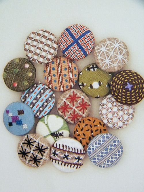 vintage fabric covered buttons with embroidery - love