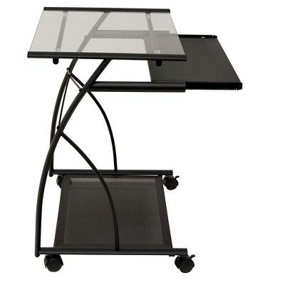 L-Shaped Computer Cart - Black/Clear Glass - Calico Designs