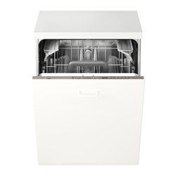 IKEA - SKINANDE, Integrated dishwasher, 5 year guarantee. Read about the terms in the guarantee brochure.5 dish programs; choose program according to type of dishes and need.With the Beam on Floor function, a small beam of light shines on your floor when the dishwasher is running.A muffled sound signal indicates when a program is finished.You can adjust the height of the upper basket to make room for plates and glasses of different sizes.The soft plastic spikes in the upper basket hold…