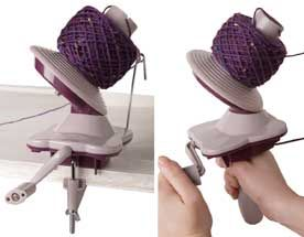 Yarn ball winder.  I just got mine today and it is a WONDER!  Best $24 I spent in a long time, oh happy day.  There's a video that shows how it works, that's pretty darn accurate, too.