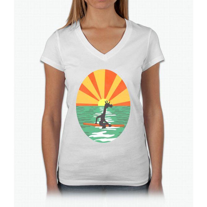 Surf Unicorn Womens V-Neck T-Shirt