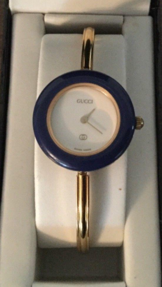 6f6d0ff3dab GUCCI 1100-L Watch Blue BEZEL BANGLE 11 12 fits up to 6.5 wrist ...