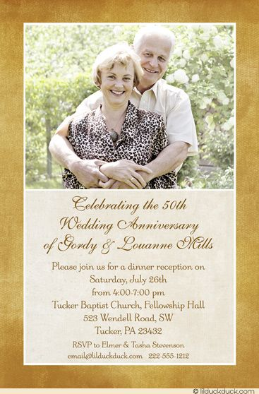 Celebrating their 50th Wedding Anniversary with happiness and smiles! A joyful photo tops this split layout in an ivory & golden color scheme, which can all be personalized to suit your needs.