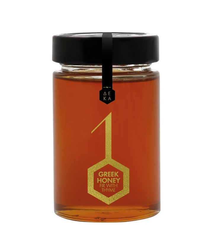 10 Greek Honey / Series of products by DEKA.    So the visualization is the number one, which in some packages like that of oil and olives symbolizes branch and the number zero is the visual coding of the product. The number zero on this packaging is a hexagonal to visually alludes to honeycombs.