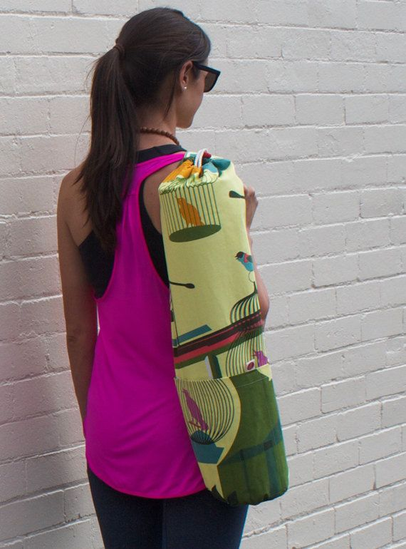 Stylish canvas Yoga Mat Bag. Cross body design by Rambutandesigns. follow @ http://www.facebook.com/rambutandesigns