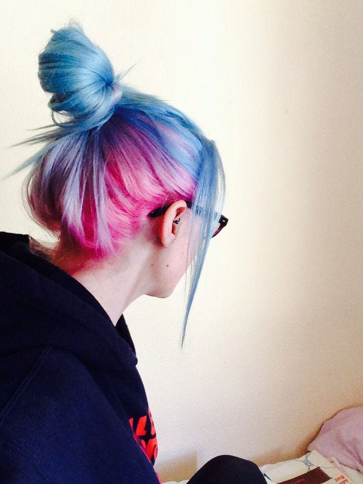 Baby Blue Upper Bangs Cotton Candy Pink Underneath With Lilac