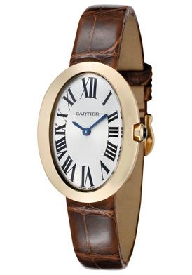 Cartier W8000009 Watches,Women's Baignoire Silver Dial Brown Alligator, Luxury Cartier Quartz Watches