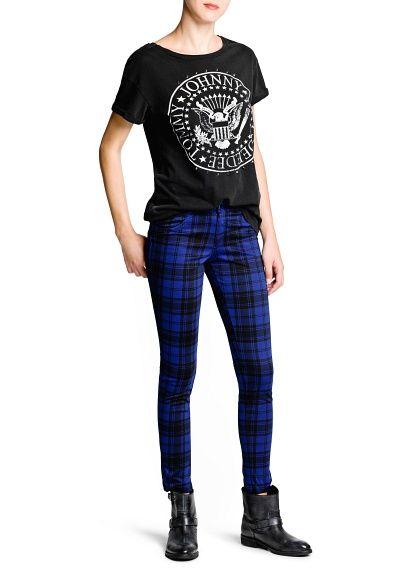 mango- plaid trousers blue
